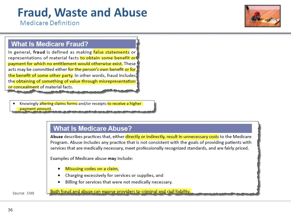 Fraud, Waste and Abuse Medicare Definition Source: CMS