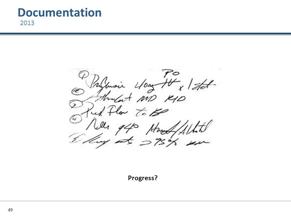Documentation 2013 Progress