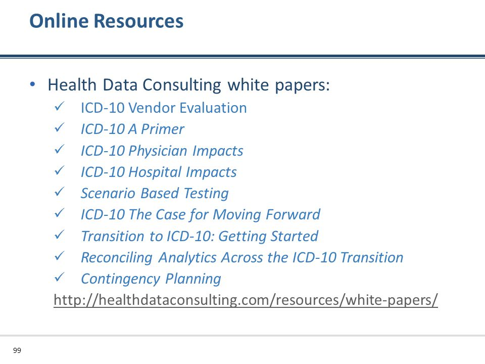 Online Resources Health Data Consulting white papers: