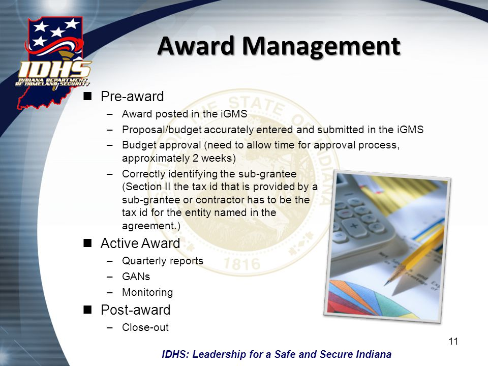 Award Management Pre-award Active Award Post-award