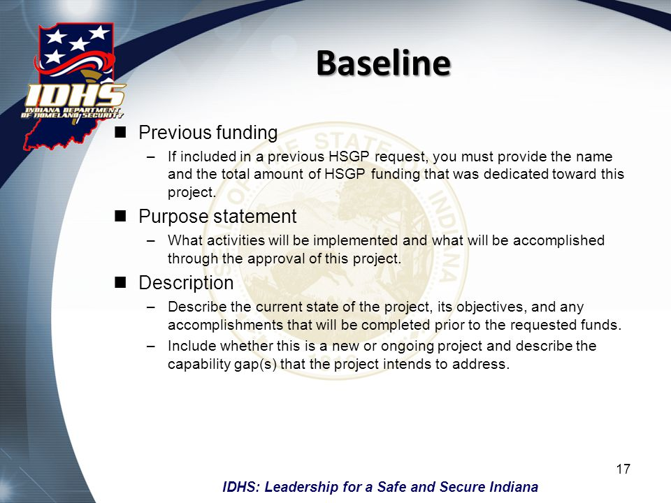 Baseline Previous funding Purpose statement Description