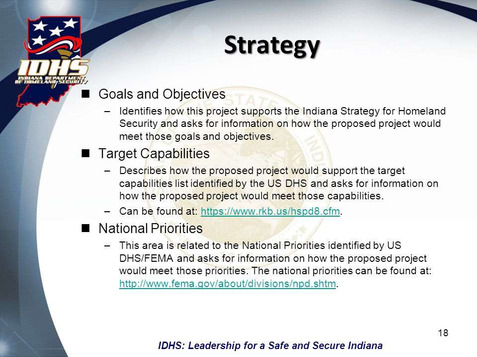 Strategy Goals and Objectives Target Capabilities National Priorities