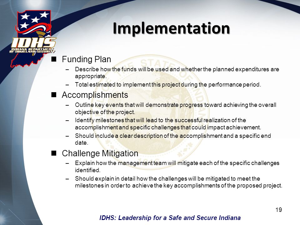 Implementation Funding Plan Accomplishments Challenge Mitigation