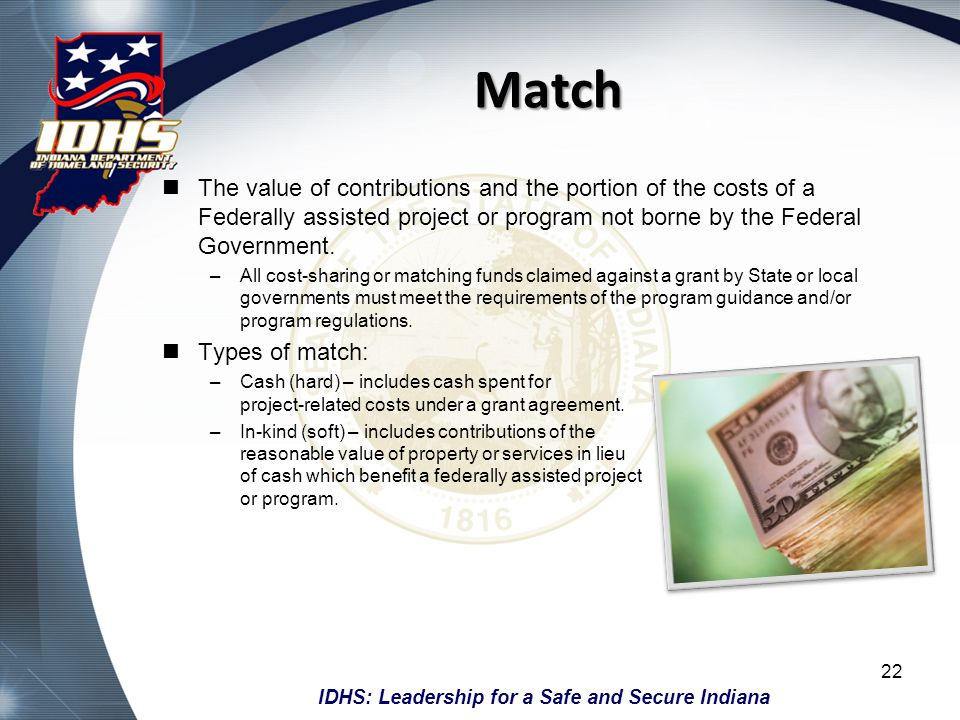 Match The value of contributions and the portion of the costs of a Federally assisted project or program not borne by the Federal Government.