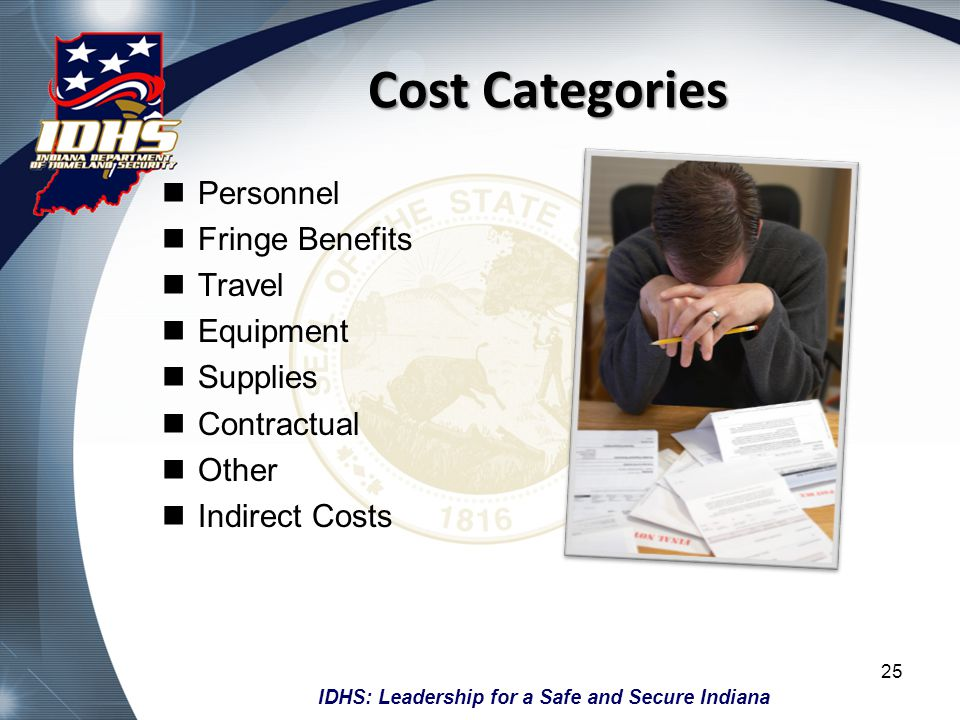 Cost Categories Personnel Fringe Benefits Travel Equipment Supplies