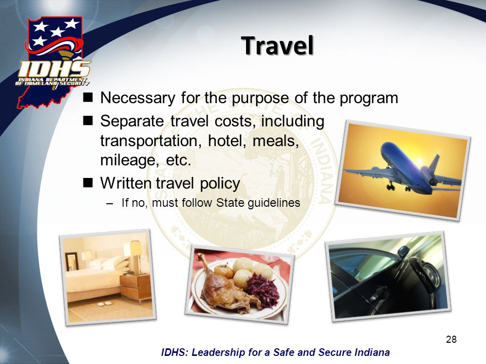 Travel Necessary for the purpose of the program