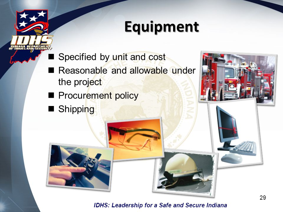 Equipment Specified by unit and cost