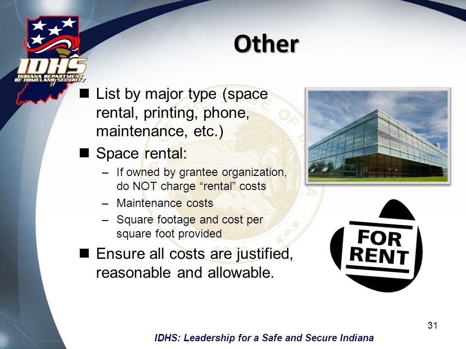 Other List by major type (space rental, printing, phone, maintenance, etc.) Space rental: