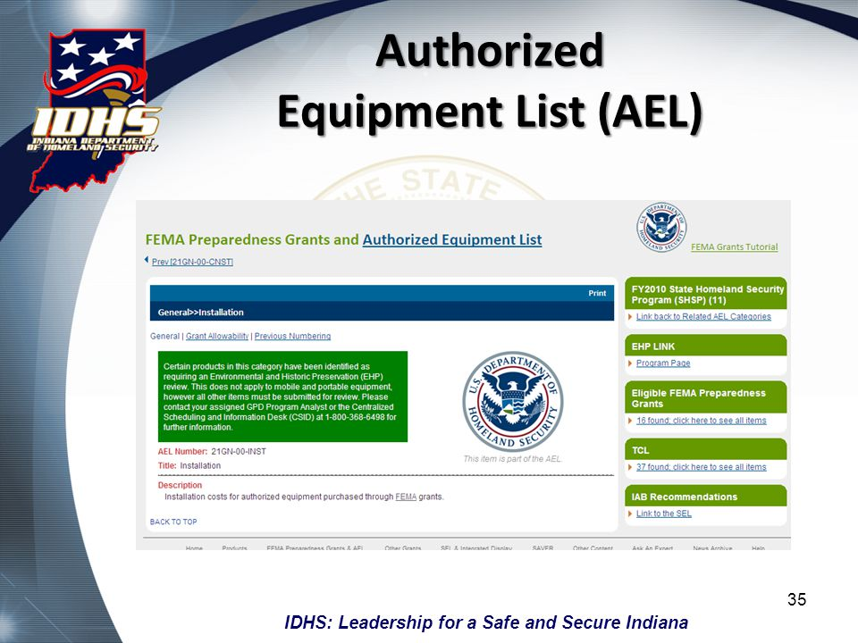 Authorized Equipment List (AEL)