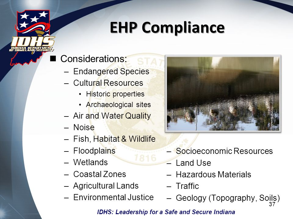 EHP Compliance Considerations: Endangered Species Cultural Resources