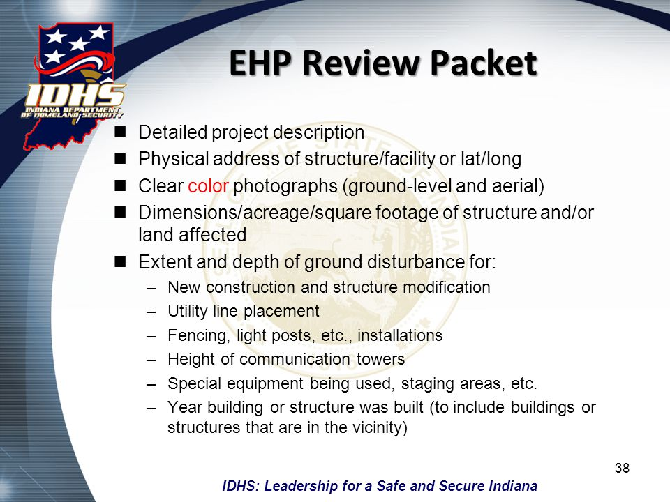 EHP Review Packet Detailed project description