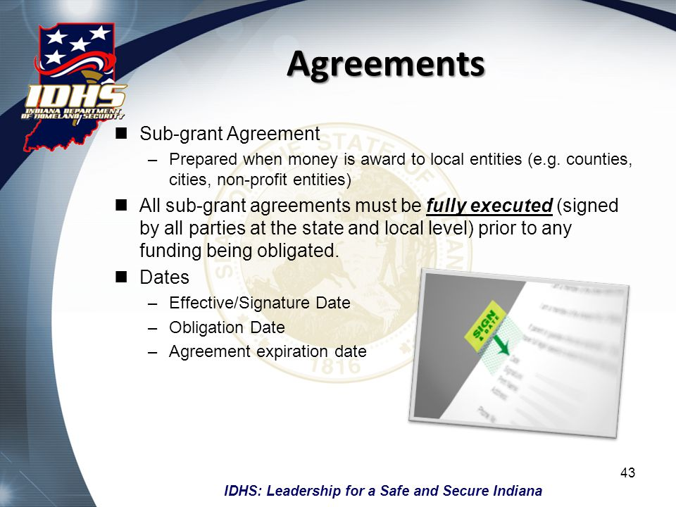 Agreements Sub-grant Agreement