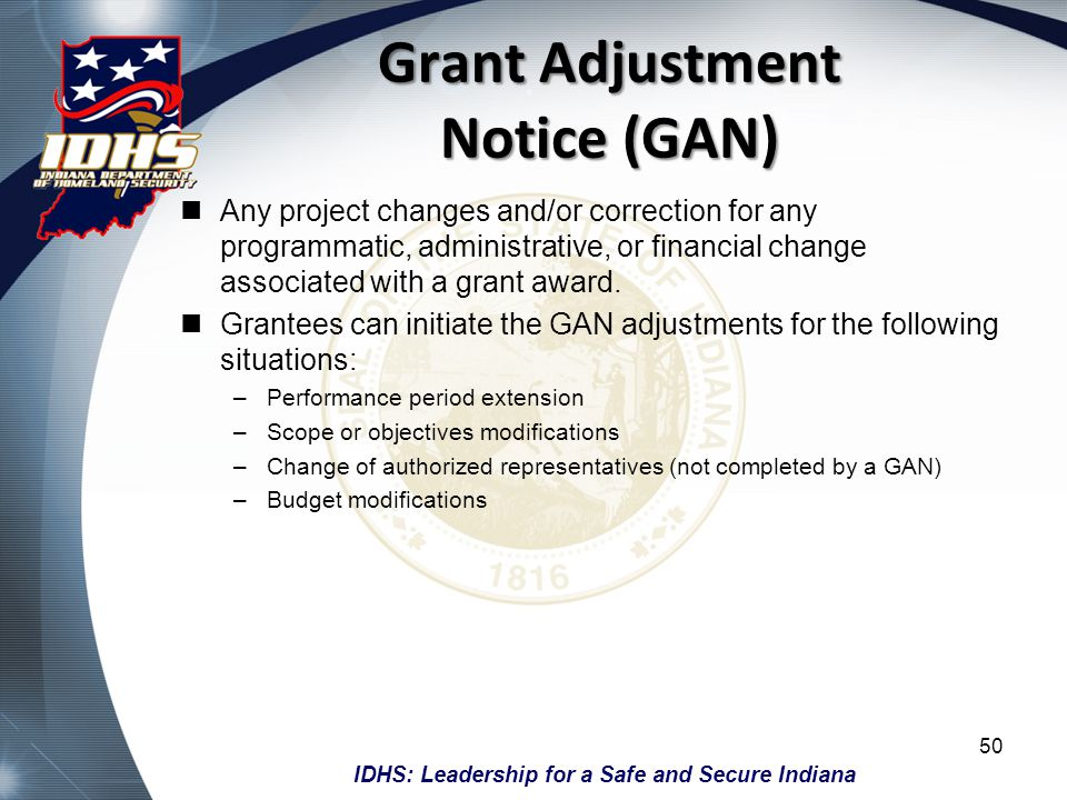 Grant Adjustment Notice (GAN)