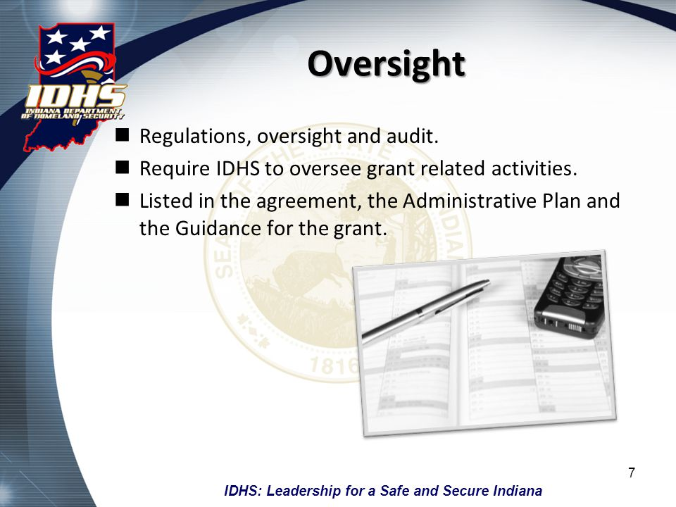 Oversight Regulations, oversight and audit.