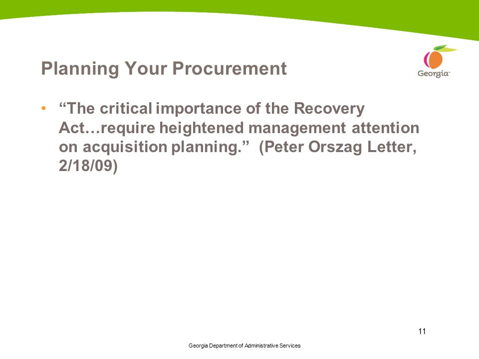 Planning Your Procurement