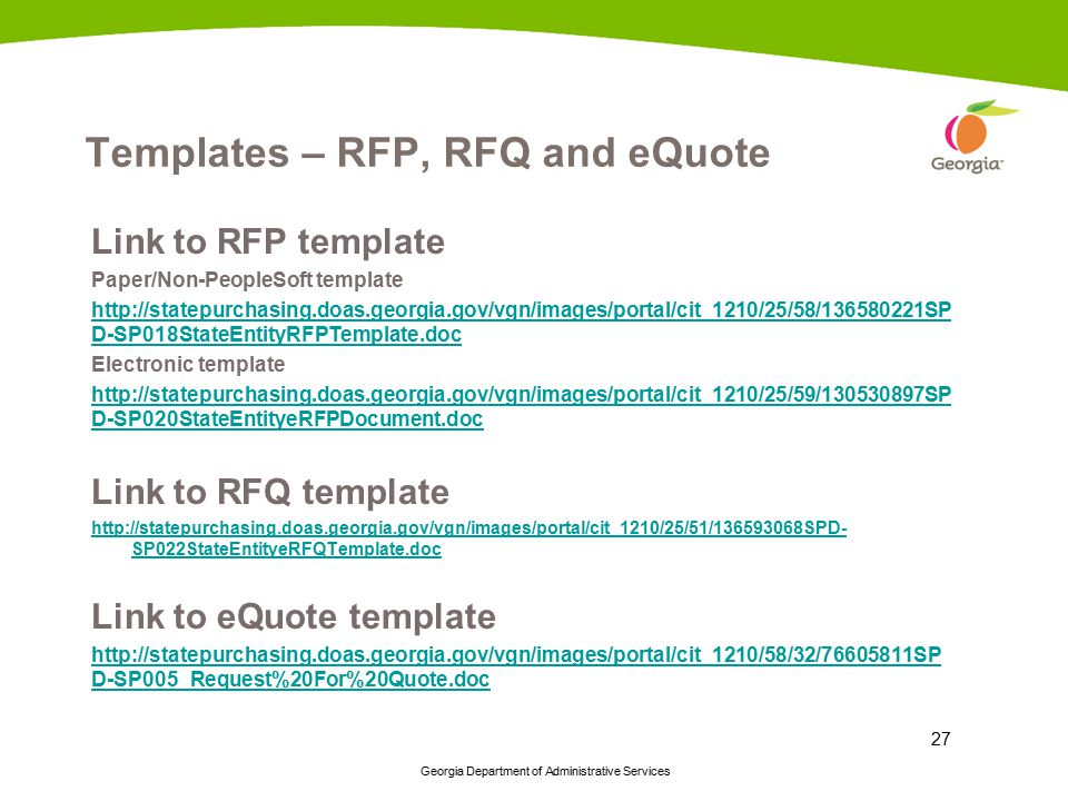 Templates – RFP, RFQ and eQuote