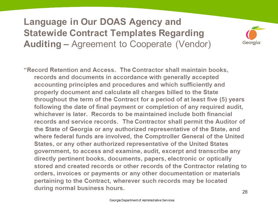 Language in Our DOAS Agency and Statewide Contract Templates Regarding Auditing – Agreement to Cooperate (Vendor)