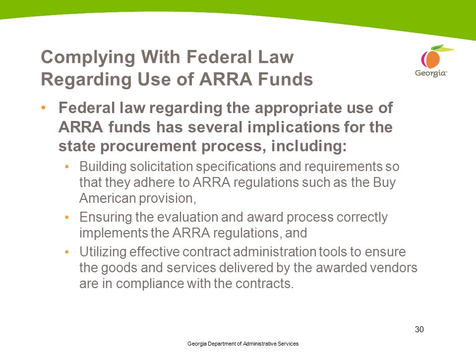 Complying With Federal Law Regarding Use of ARRA Funds