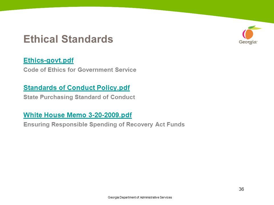 Ethical Standards Ethics-govt.pdf Standards of Conduct Policy.pdf