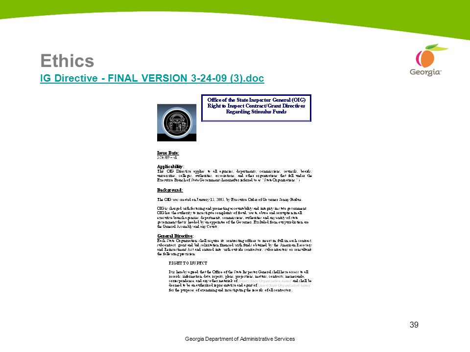 Ethics IG Directive - FINAL VERSION 3-24-09 (3).doc