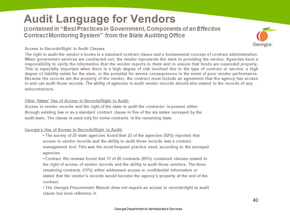 Audit Language for Vendors (contained in Best Practices in Government, Components of an Effective Contract Monitoring System from the State Auditing Office