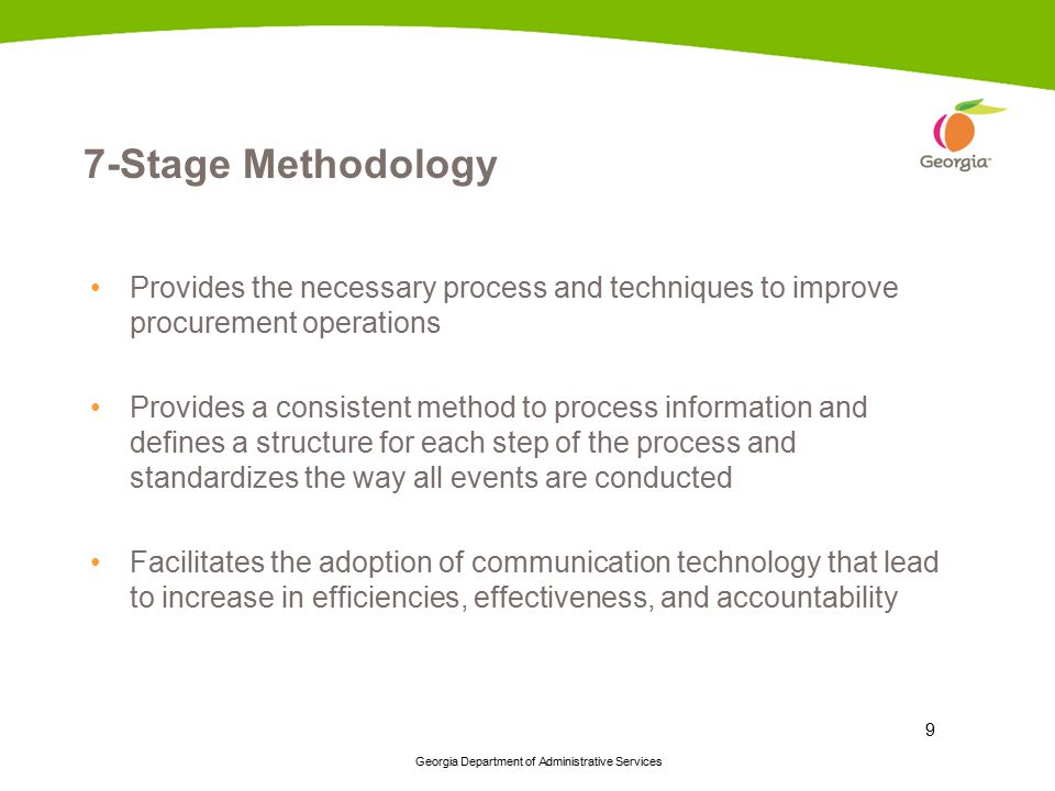7-Stage Methodology Provides the necessary process and techniques to improve procurement operations.