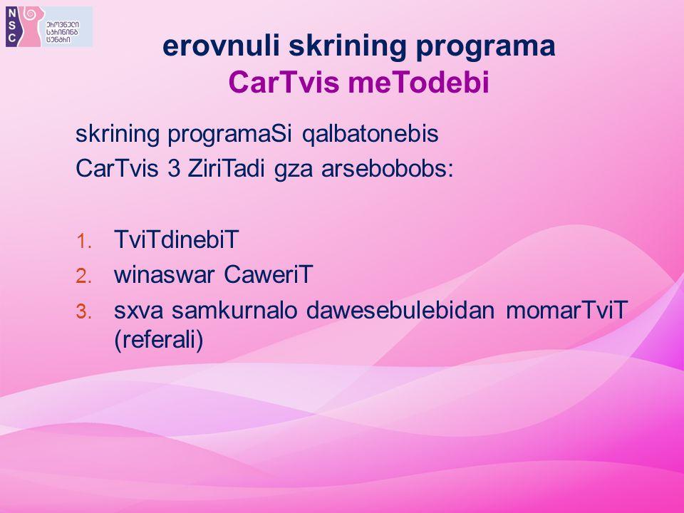 erovnuli skrining programa CarTvis meTodebi