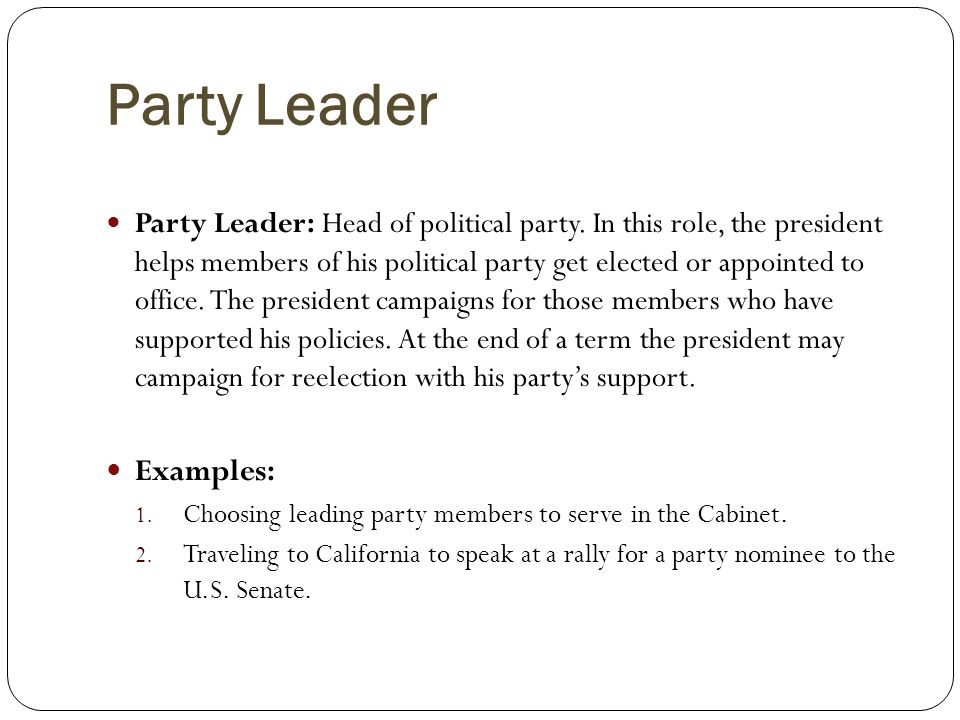 Party Leader Examples: