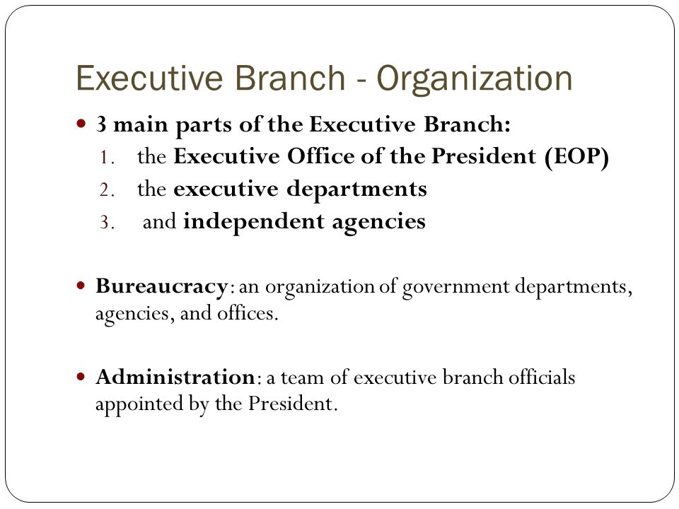 Executive Branch - Organization