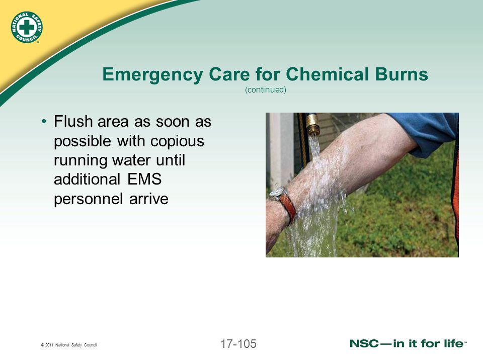 Emergency Care for Chemical Burns (continued)