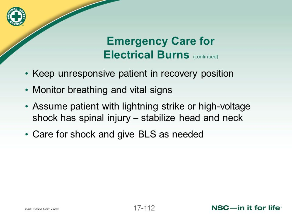 Emergency Care for Electrical Burns (continued)