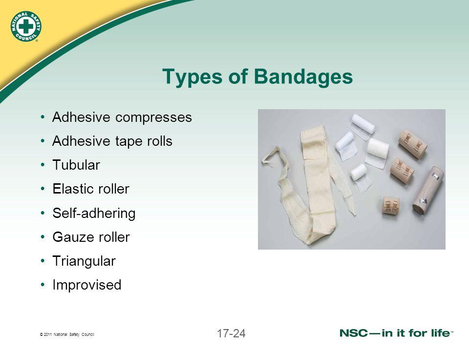 Types of Bandages Adhesive compresses Adhesive tape rolls Tubular