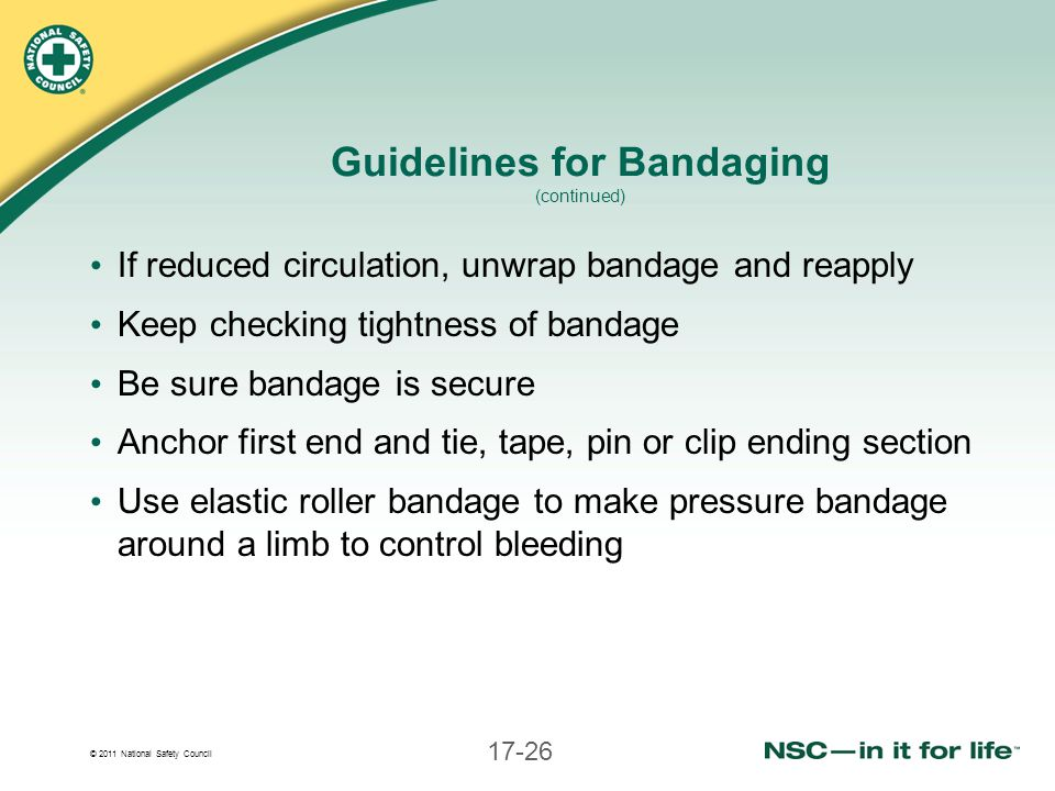 Guidelines for Bandaging (continued)