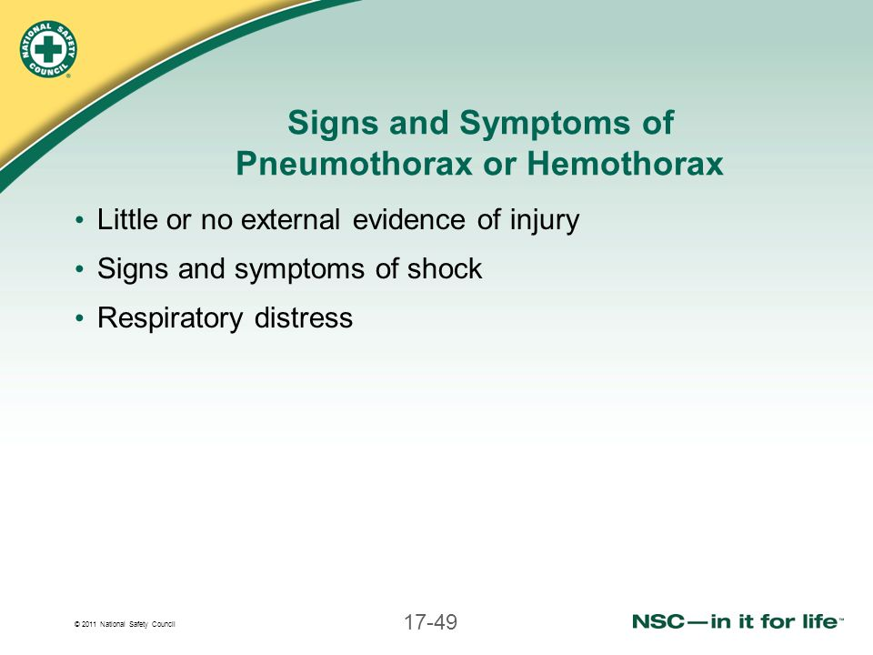 Signs and Symptoms of Pneumothorax or Hemothorax
