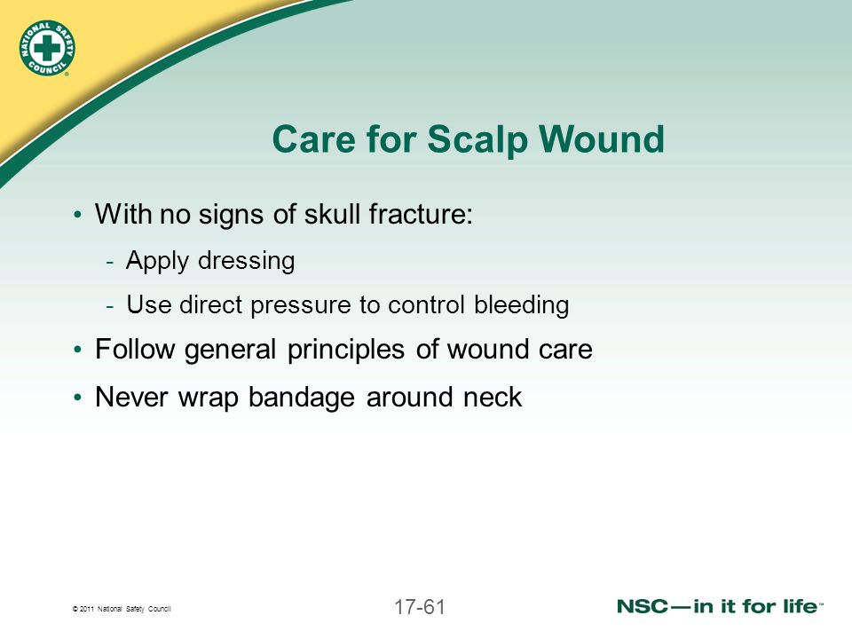 Care for Scalp Wound With no signs of skull fracture: