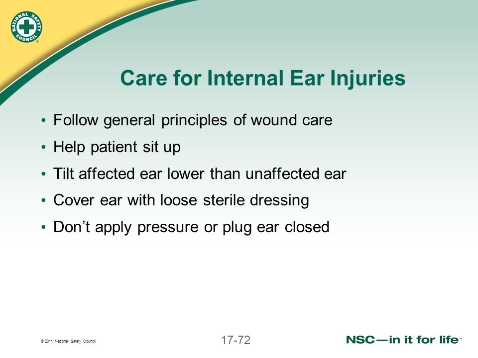 Care for Internal Ear Injuries