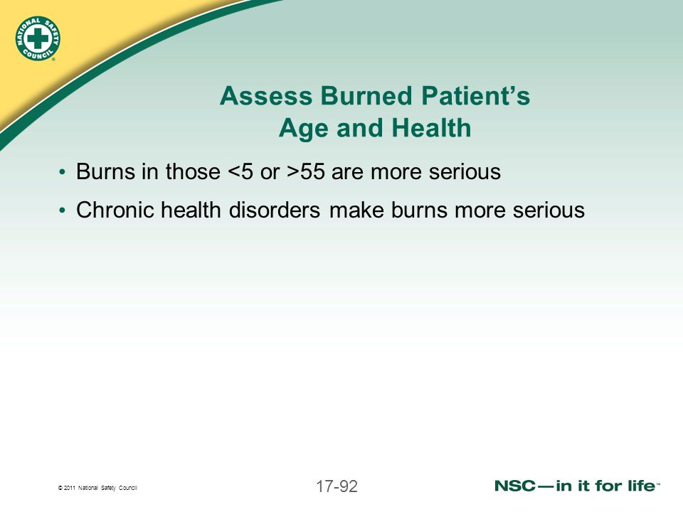Assess Burned Patient's Age and Health