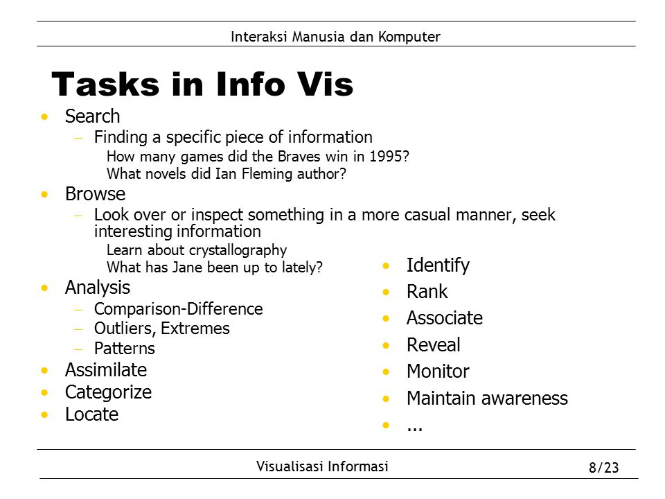 Tasks in Info Vis Search Browse Analysis Assimilate Categorize