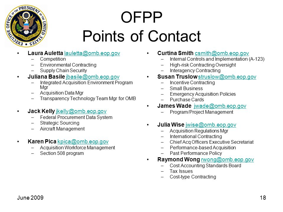 OFPP Points of Contact Laura Auletta lauletta@omb.eop.gov
