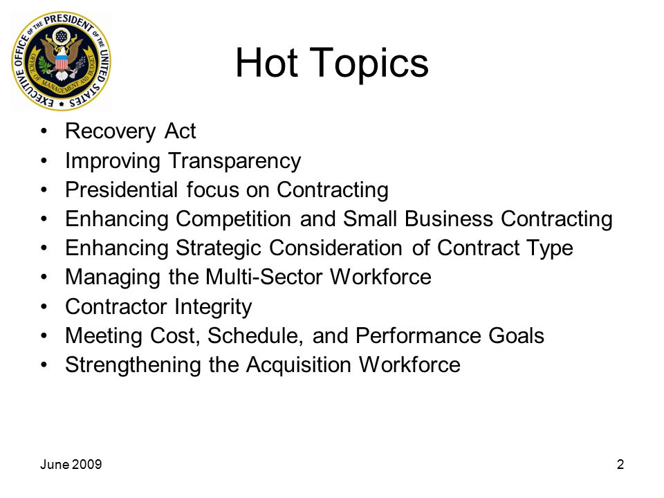 Hot Topics Recovery Act Improving Transparency