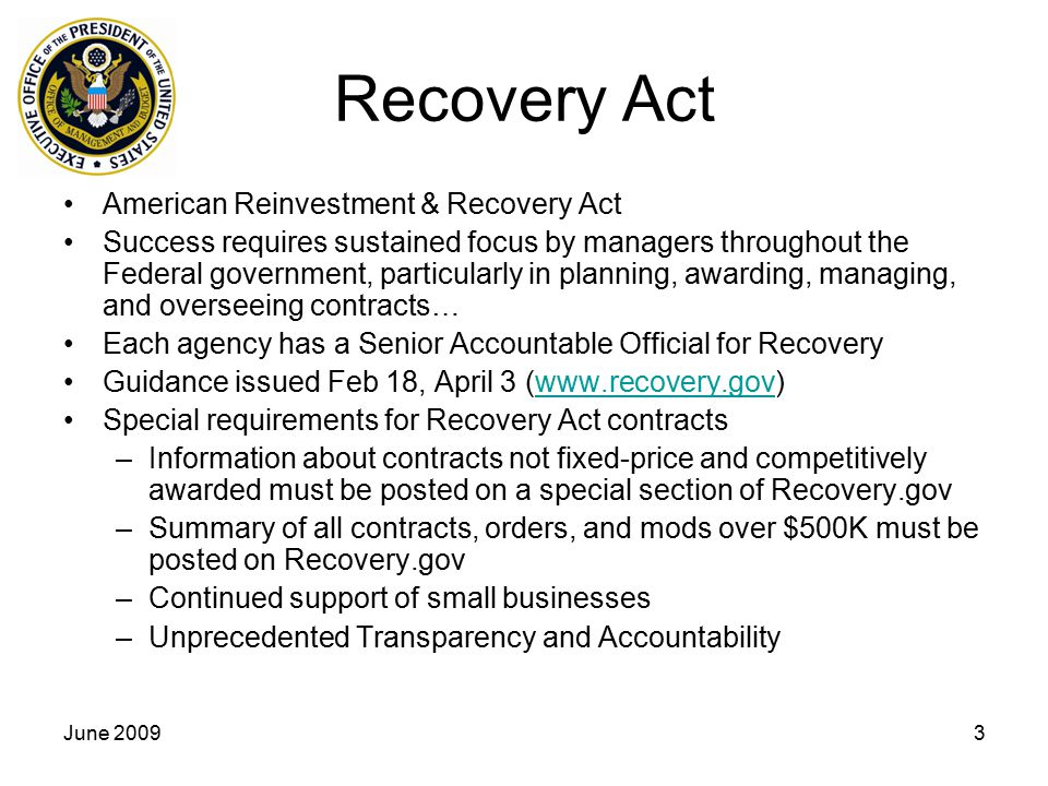 Recovery Act American Reinvestment & Recovery Act