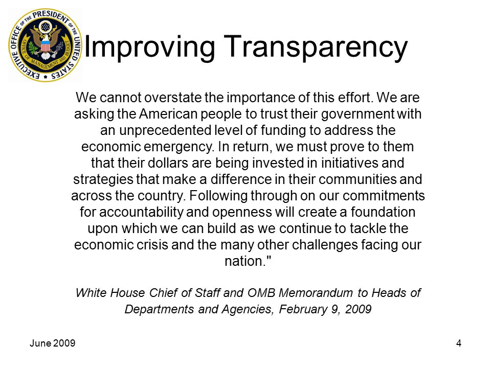 Improving Transparency