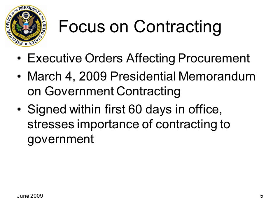 Focus on Contracting Executive Orders Affecting Procurement