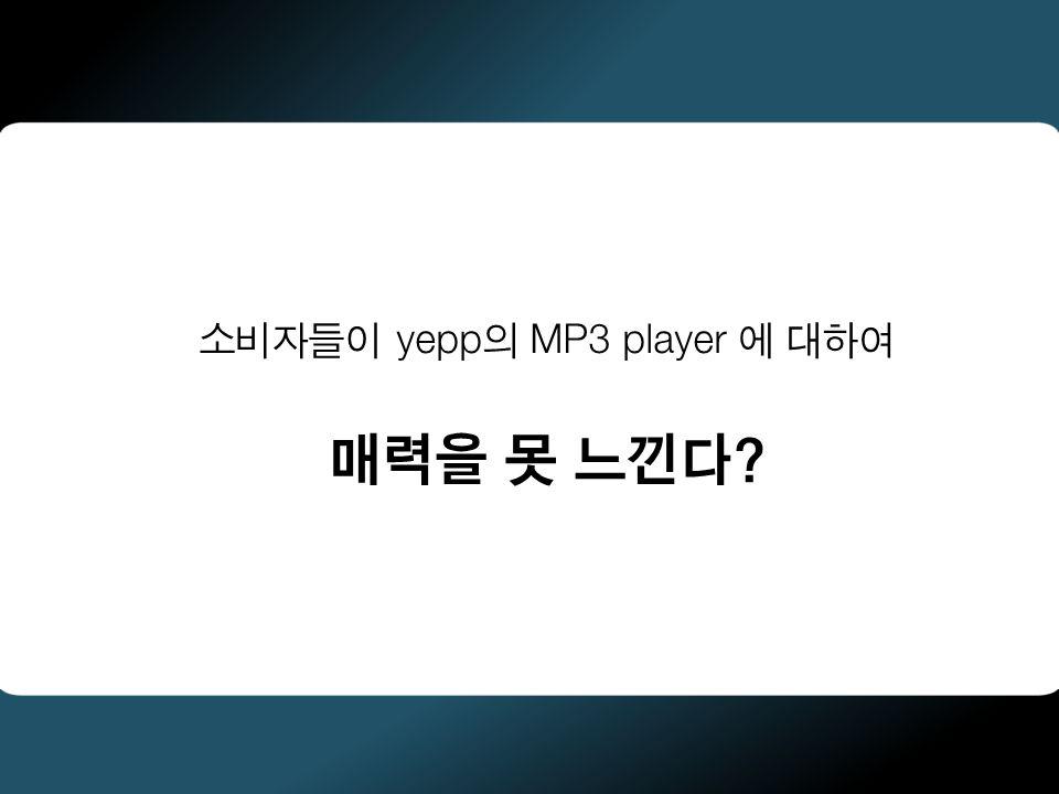 소비자들이 yepp의 MP3 player 에 대하여