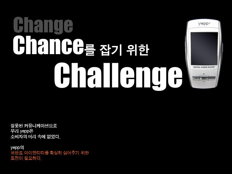 Challenge Chance를 잡기 위한 Change 잘못된 커뮤니케이션으로 우리 yepp은 소비자의 머리 속에 없었다.
