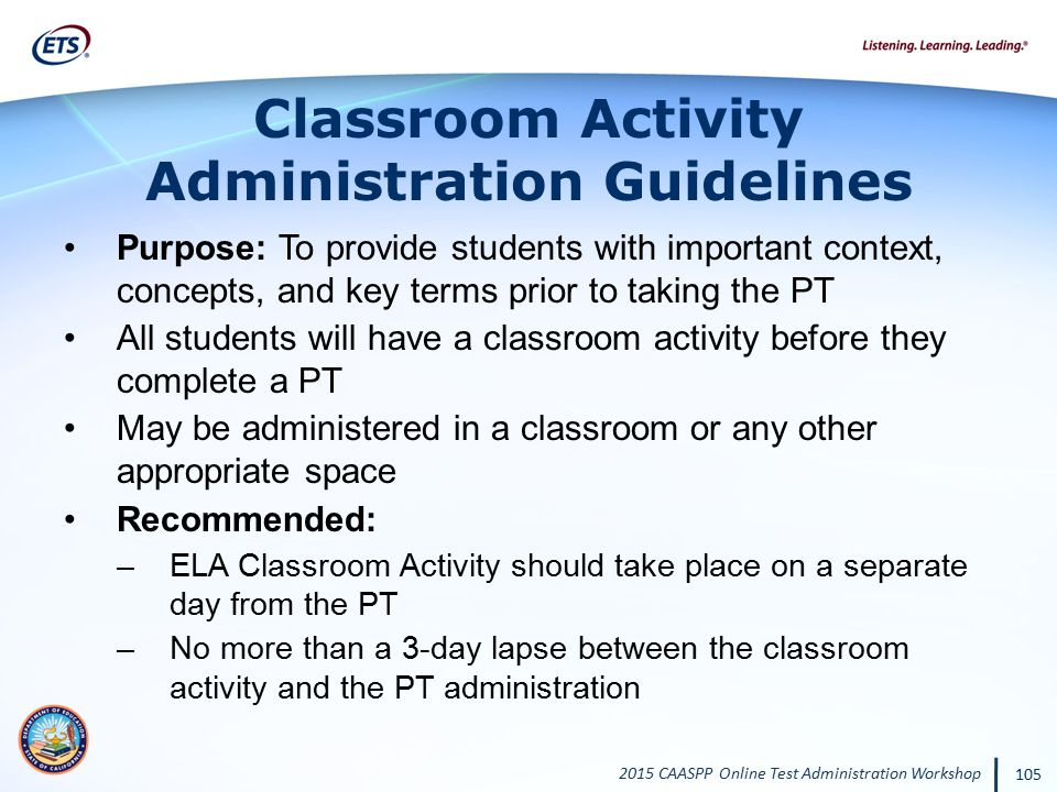 Classroom Activity Administration Guidelines
