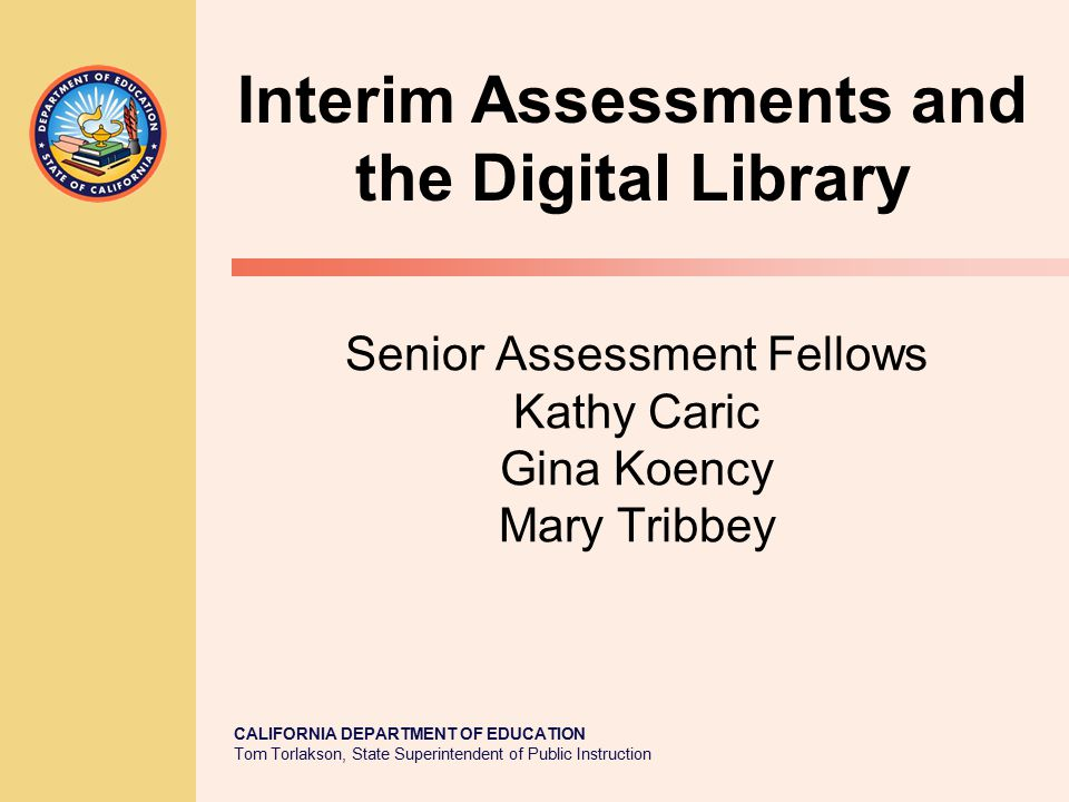 Senior Assessment Fellows Kathy Caric Gina Koency Mary Tribbey