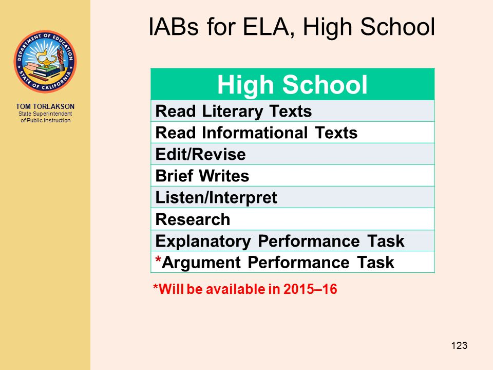 IABs for ELA, High School
