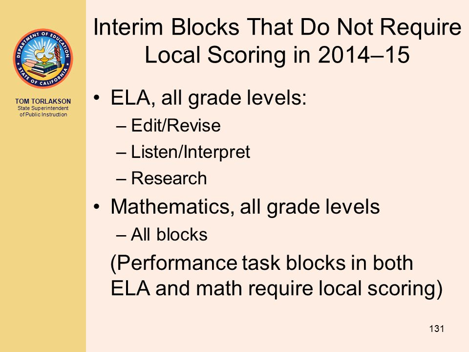 Interim Blocks That Do Not Require Local Scoring in 2014–15