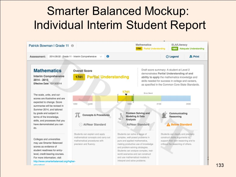 Smarter Balanced Mockup: Individual Interim Student Report